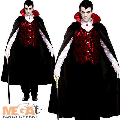 Deluxe Vampire Mens Fancy Dress Halloween Spooky Scary Dracula Adults Costume