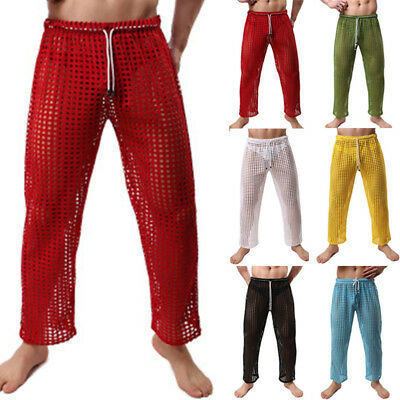 Sexy Style Men See Through Casual Hollow Out Fishnet Trouser Pajama Bottom Pant