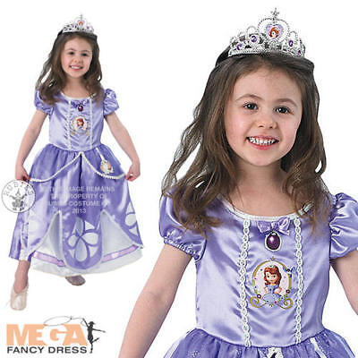 Deluxe Sofia Princess Girls Costume Disney Kids Fairytale Childs Fancy Dress 2-6