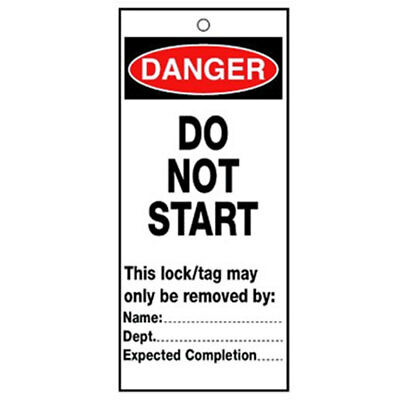 Poly Tag Danger Do Not Start 75mm (10) (RLTT10B)