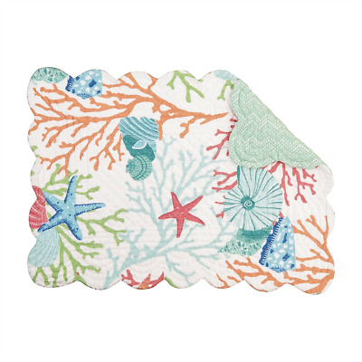 CARIBBEAN SPLASH Shells, Starfish, Coral Quilted Reversible Coastal C&F Placemat