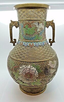"11-3/4"" Brass CLOISONNE Vase Made in Japan Blue Green Pink Enameled on Brass"