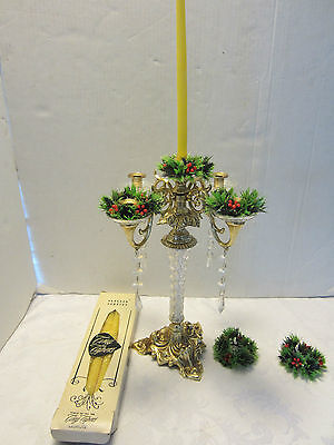 "Candelabra Lucite & Brass 4 arm crystals prism wreath Paragon Candle box 12"" H"