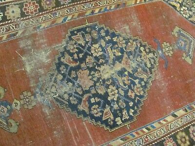 A FINE ANTIQUE HANDMADE BIJAR WOOL ON WOOL PERSIAN CARPET (230 x 136 cm)