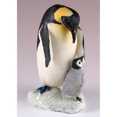 "Emperor Penguin With Baby Chick Figurine Resin 4"" High New!"