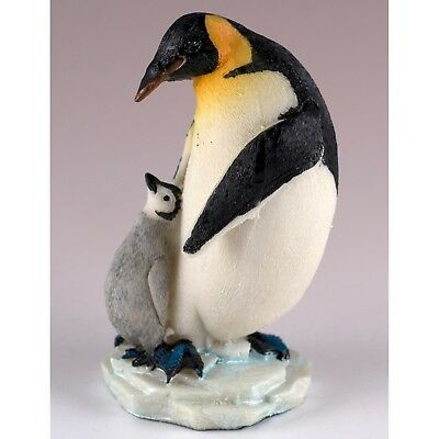"""Emperor Penguin With Baby Chick Figurine Resin 3.75"""" High New!"""