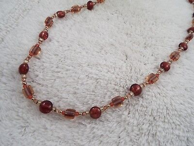Brown Rose Pink Glass Bead Necklace (A55)