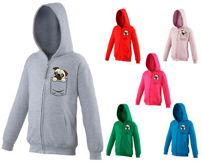 Kids Childrens Zip Up Hoodie Pug Dog Cute Pet Funny Animal Pocket Print Age 5-13