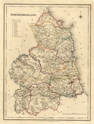Antique county map of NORTHUMBERLAND by Creighton & Walker for Lewis c1840
