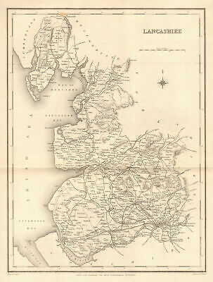 Europe Maps Responsible Lancashire South Part Antique County Map 1893 Old Plan Chart
