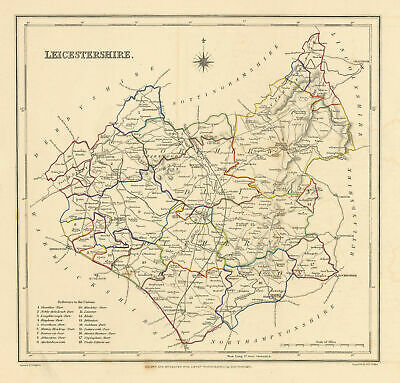Antique county map of LEICESTERSHIRE by Creighton & Walker for Lewis c1840