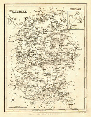 Antique county map of WILTSHIRE by Walker & Creighton for Lewis c1840 old