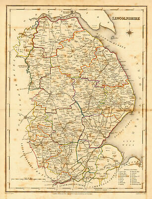 Antique county map of LINCOLNSHIRE by Creighton & Walker for Lewis c1840