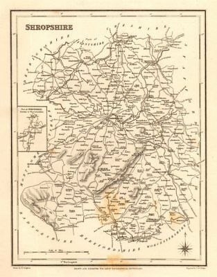 Antique county map of SHROPSHIRE by Walker & Creighton for Lewis c1840 old