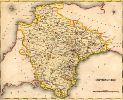 Antique county map of DEVONSHIRE by Creighton & Walker for Lewis. Coloured c1840