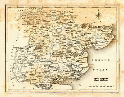 Antique county map of ESSEX by Starling & Creighton for Lewis c1840 old