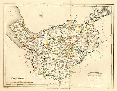 Antique county map of CHESHIRE by Creighton & Walker for Lewis c1840 old