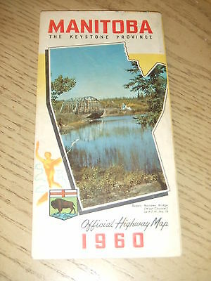 VINTAGE 1960 OFFICIAL Manitoba Canada Province Highway Road Map Tourist Guide MB