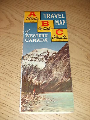 ABC 1957 OFFICIAL Alberta British Columbia Canada Highway Road Map Tourist Guide