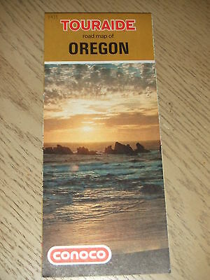 VINTAGE 1971 Conoco Oil Gas Oregon State Highway Road Map Touraide Guide Eureka