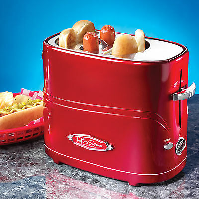 Hot Dog Cooker Machine & Bun Warmer ~ Red Retro Pop-Up Toaster Hdt600Retrored