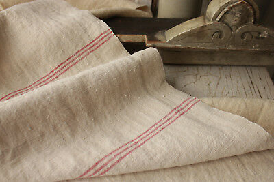 Antique hemp material Upholstery fabric 2.5YDS red stripes old table runner