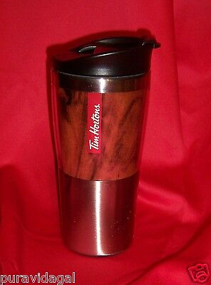 TIM HORTONS Coffee ~ 2016 Stainless Steel + Plastic Travel TUMBLER 16 oz ~ New