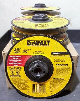 "(10-pack) DEWALT DW8426H 6"" X .045"" X 5/8""-11 Hub  Cut-off  Wheels"