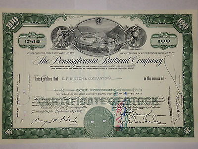 Pennsylvania Railroad stock certificate with Altoona,PA horseshoe curve vignette