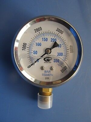 "New 2-1/2"" Hydraulic Liquid Filled Pressure Test Gauge 0 - 5000 PSI NEW"