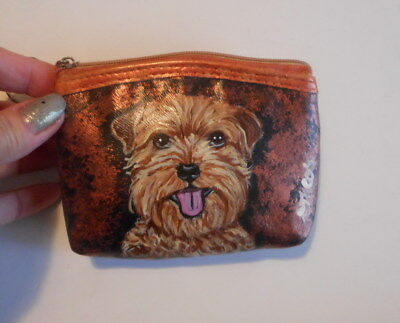 Norfolk Terrier dog Hand Painted Leather Coin Purse