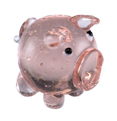 "Hand Blown Art Glass Miniature Pink Marble Pig Figurine 1"" High New!"