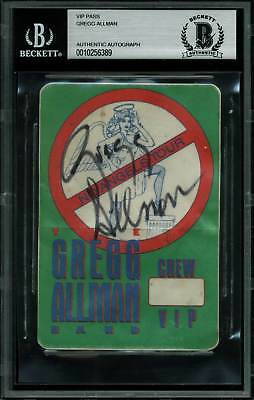 Gregg Allman Authentic Signed No Angels Tour Vip Pass Autographed BAS Slabbed