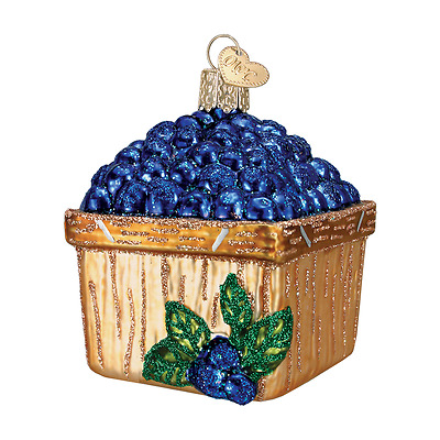 """Basket of Blueberries"" (28102) Old World Christmas Glass Ornament w/ OWC Box"