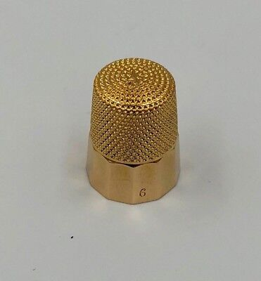 Vintage Solid 14k Yellow Gold Sewing Thimble Size 6 4.5 grams