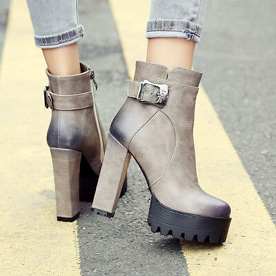 Fashion Womens high block heels platform side zip buckle work shoes ankle boots