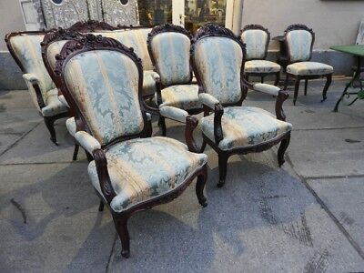 Wonderful Antique Living Room Sofa With Armchairs Chairs Period 800 Mahogany