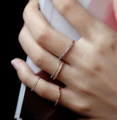 Fashion Silver&Rose gold White Topaz Eternity Wedding Ring Women's Jewelry/ZONE