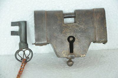 1930's Old Iron Solid Heavy Handcrafted Unique Shape Padlock, Rich Patina