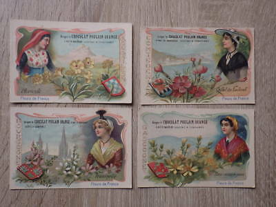 (PC) 4 x CHROMO CHOCOLAT POULAIN ORANGE Fleurs de France Nice Gascogne Bourgogne