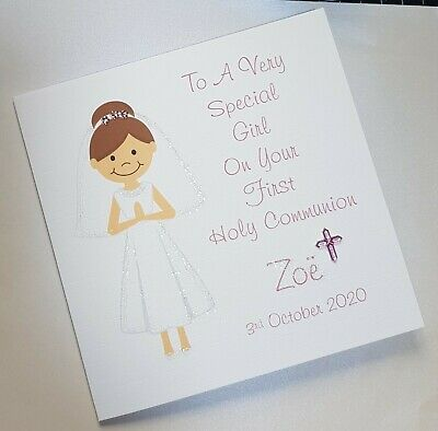 Handmade Card First Holy Communion Daughter Granddaughter Niece Personalised
