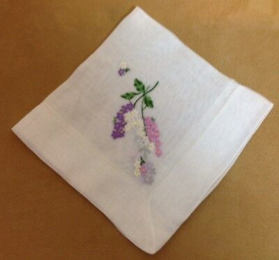 Vintage Ladies Hanky, Handkerchief, Embroidered Flowers, White, Multi Color