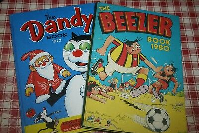 Vintage 1972/1980 Beezer Annual & The Dandy Annual Retro Books Childrens Kitsch