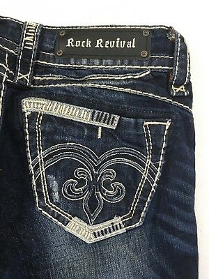 ROCK REVIVAL STRAIGHT LEG JEANS New Adele Low Rise Dark Stretch Jean 28 X 32