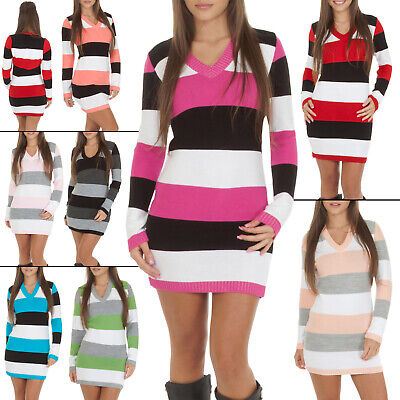 New Womens Long Sleeve V-Neck Striped Jumper Knitted Dress Top Size 8 10 12 14
