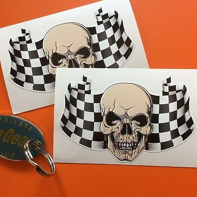 SKULL & CHEQUERED FLAG Car Motorcycle Stickers Decals 2 off 100mm