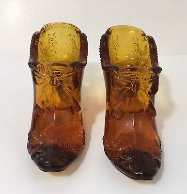 Set of 2 Vintage Mosser Amber Glass Shoe w/ Bow Scroll Pattern 4.5""