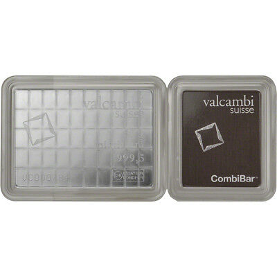 Valcambi 50x1 Gram Platinum CombiBar (1.6075 oz) with Assay Card