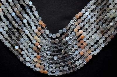 """14"""" One Line  Natural Multi Color Moonstone Beads Coin 6 X 7 Mm Gemstone#102-1"""