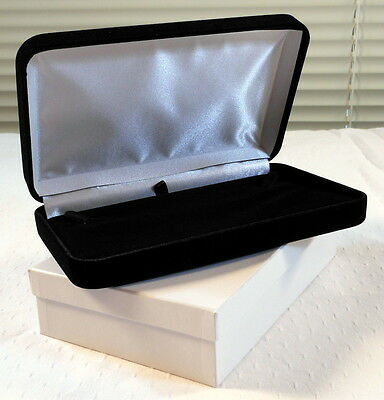 Elegant Large Black Velvet Jewelry Presentation Gift Box - Necklace Pearls Beads